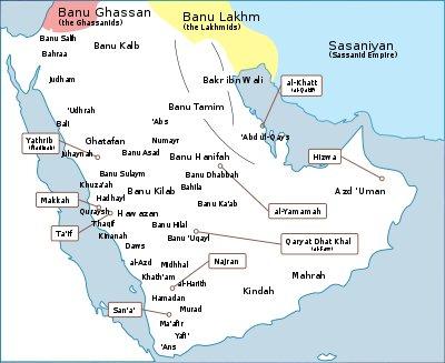 Localizzazione delle tribù arabe
