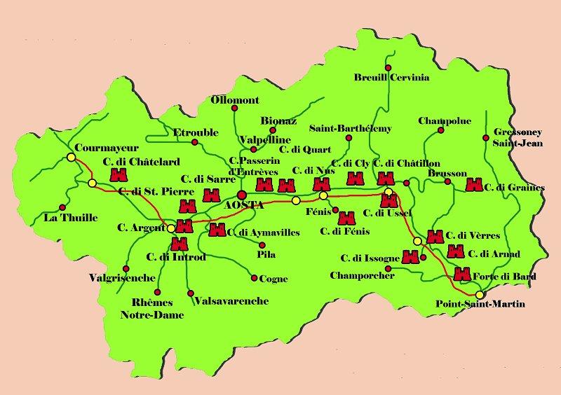 Cartina Valle D Aosta Dettagliata.Castelli Della Val D Aosta Pagina 1 Castelli Italiani Storia Medievale Dai Castelli Ai Monstra
